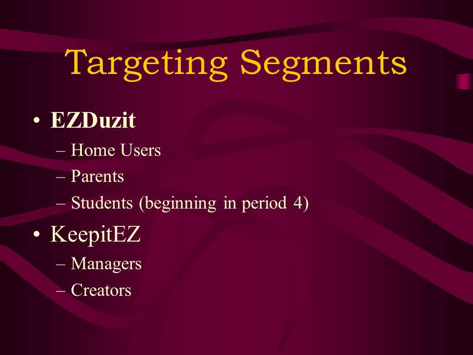 Targeting Segments EZDuzit –Home Users –Parents –Students (beginning in period 4) KeepitEZ –Managers –Creators
