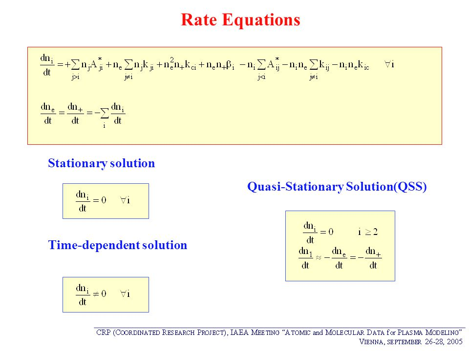 Rate Equations Quasi-Stationary Solution(QSS) Stationary solution Time-dependent solution