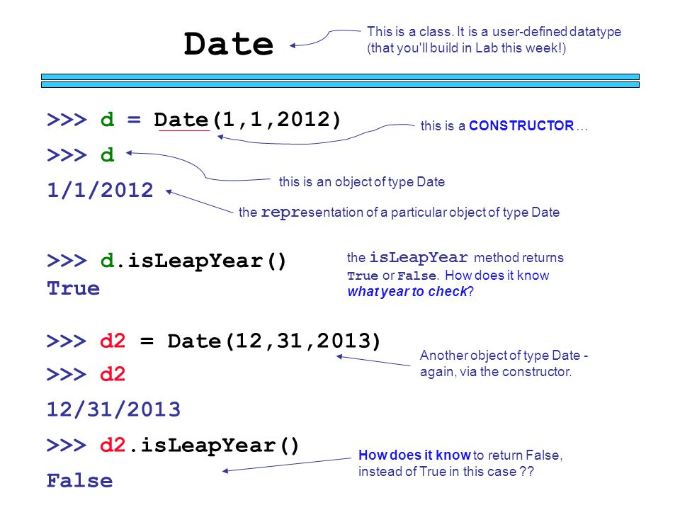 Date this is an object of type Date >>> d = Date(1,1,2012) >>> d 1/1/2012 This is a class. It is a user-defined datatype (that you'll build in Lab thi