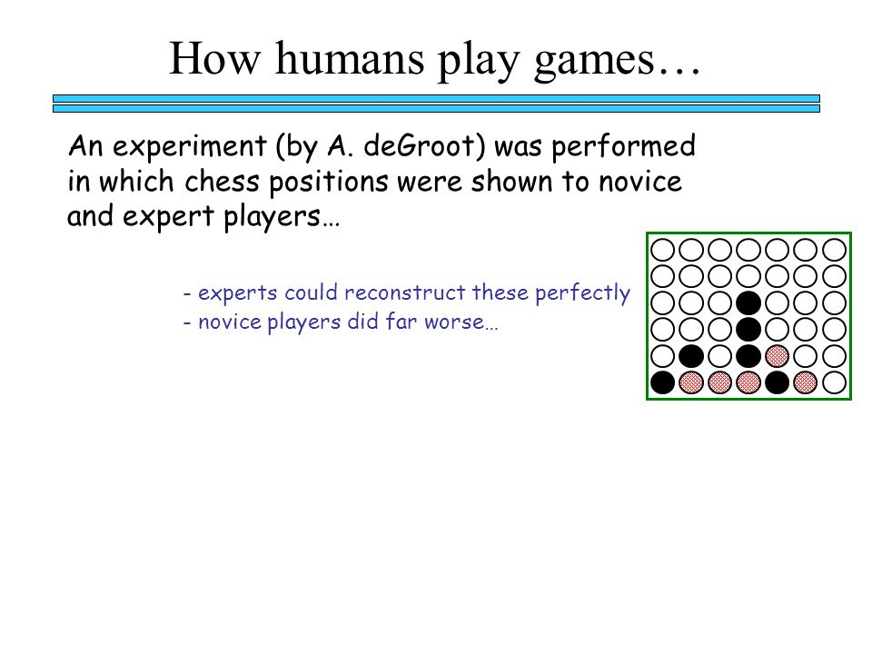 How humans play games… - experts could reconstruct these perfectly - novice players did far worse… An experiment (by A.