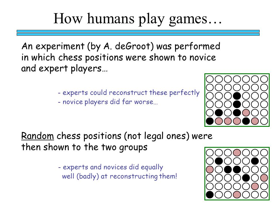 How humans play games… - experts could reconstruct these perfectly - novice players did far worse… Random chess positions (not legal ones) were then shown to the two groups - experts and novices did equally well (badly) at reconstructing them.