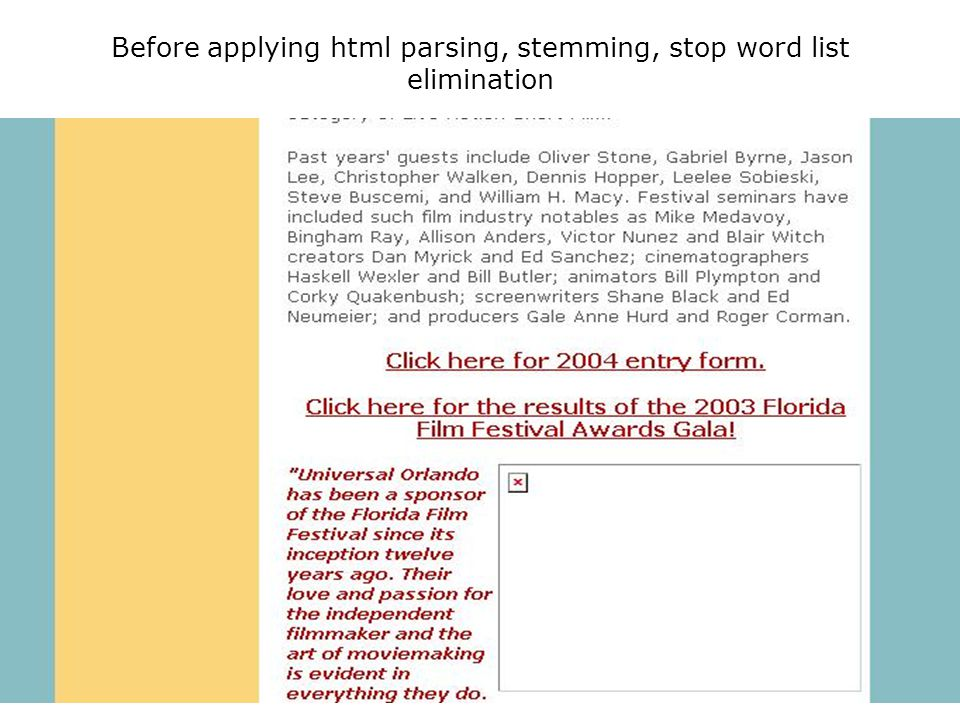 Before applying html parsing, stemming, stop word list elimination