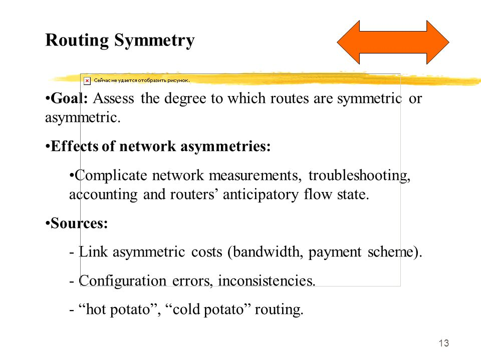 13 Routing Symmetry Goal: Assess the degree to which routes are symmetric or asymmetric. Effects of network asymmetries: Complicate network measuremen