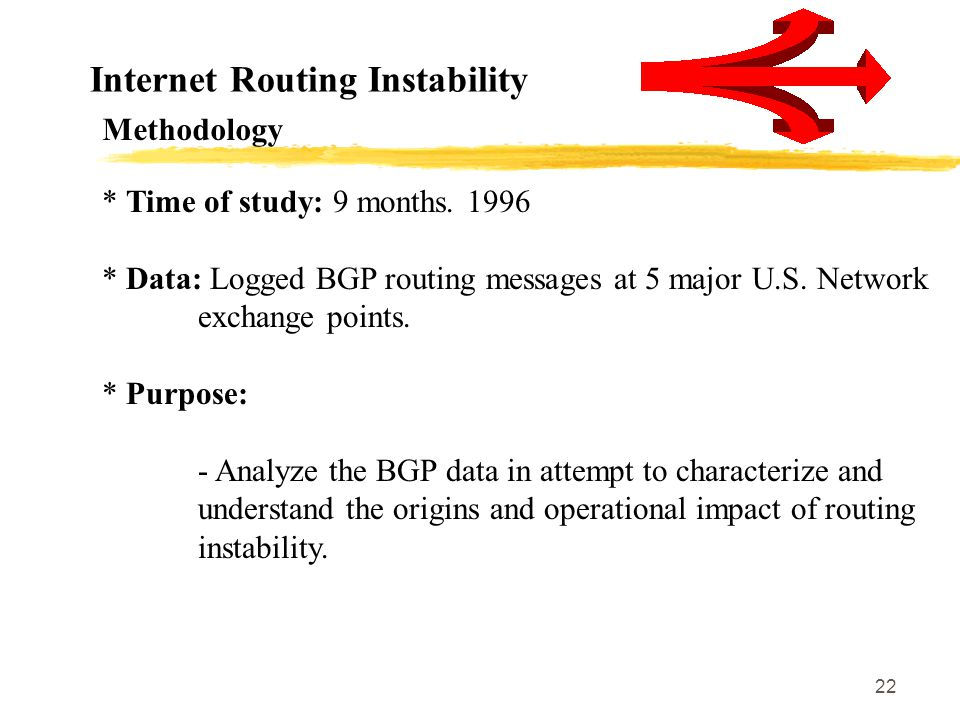 22 Internet Routing Instability Methodology * Time of study: 9 months. 1996 * Data: Logged BGP routing messages at 5 major U.S. Network exchange point