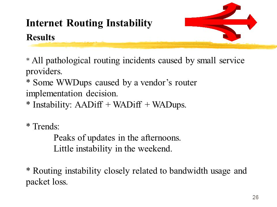 26 Internet Routing Instability * All pathological routing incidents caused by small service providers. * Some WWDups caused by a vendor's router impl