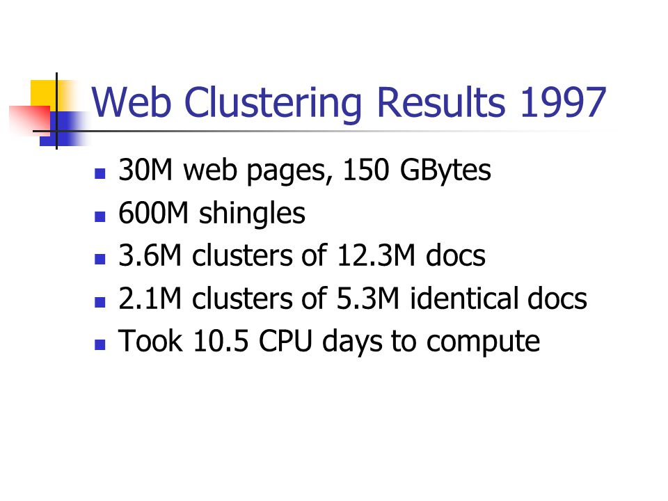 Web Clustering Results 1997 30M web pages, 150 GBytes 600M shingles 3.6M clusters of 12.3M docs 2.1M clusters of 5.3M identical docs Took 10.5 CPU days to compute