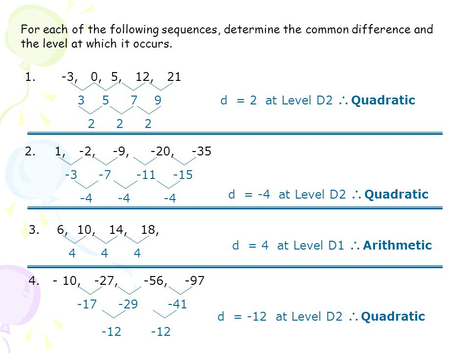 For each of the following sequences, determine the common difference and the level at which it occurs.