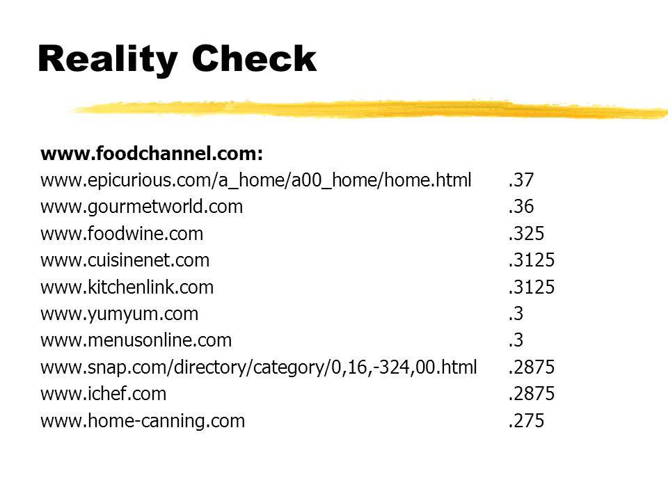 Reality Check www.foodchannel.com: www.epicurious.com/a_home/a00_home/home.html.37 www.gourmetworld.com.36 www.foodwine.com.325 www.cuisinenet.com.3125 www.kitchenlink.com.3125 www.yumyum.com.3 www.menusonline.com.3 www.snap.com/directory/category/0,16,-324,00.html.2875 www.ichef.com.2875 www.home-canning.com.275