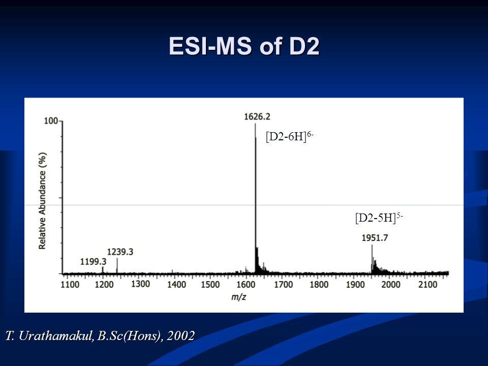 ESI-MS of D2 [D2-6H] 6- [D2-5H] 5- T. Urathamakul, B.Sc(Hons), 2002