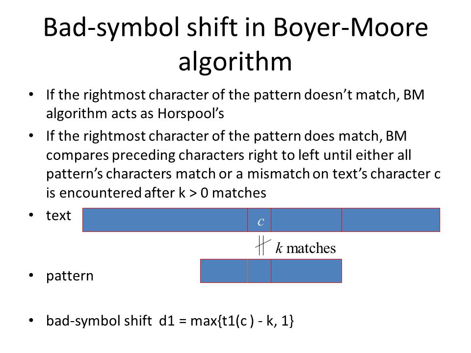 Bad-symbol shift in Boyer-Moore algorithm If the rightmost character of the pattern doesn't match, BM algorithm acts as Horspool's If the rightmost character of the pattern does match, BM compares preceding characters right to left until either all pattern's characters match or a mismatch on text's character c is encountered after k > 0 matches text pattern bad-symbol shift d1 = max{t1(c ) - k, 1} c k matches