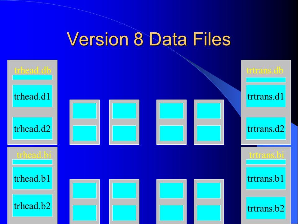 Version 8 Data Files trhead.d1 trhead.d2 trhead.b1 trhead.b2 trtrans.d1 trtrans.d2 trhead.db trhead.bi trtrans.b1 trtrans.b2 trtrans.db trtrans.bi