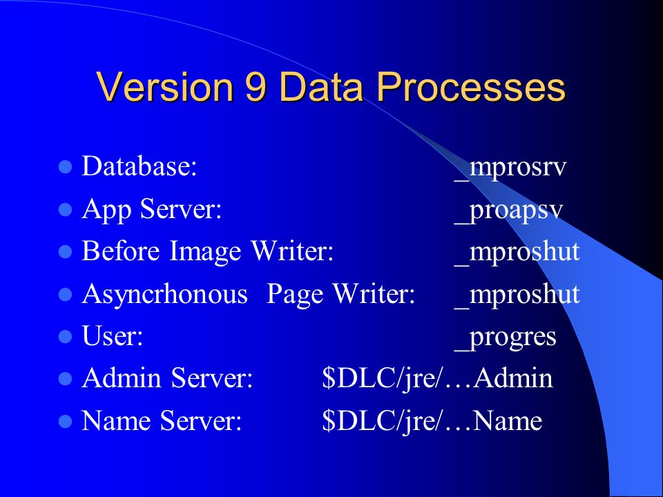Version 9 Data Processes Database: _mprosrv App Server:_proapsv Before Image Writer:_mproshut Asyncrhonous Page Writer:_mproshut User:_progres Admin Server:$DLC/jre/…Admin Name Server:$DLC/jre/…Name