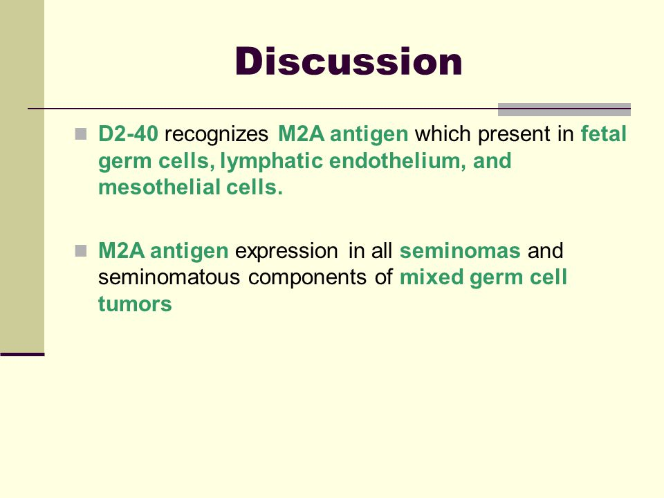 Discussion D2-40 recognizes M2A antigen which present in fetal germ cells, lymphatic endothelium, and mesothelial cells.