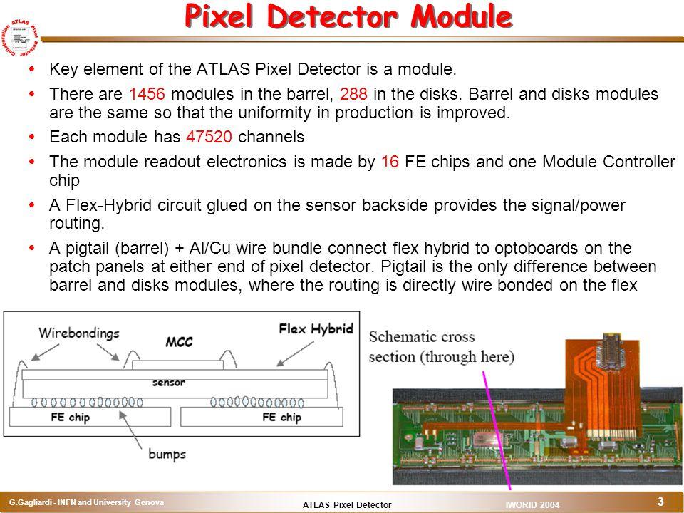 ATLAS Pixel Detector G.Gagliardi - INFN and University Genova IWORID 2004 3 Pixel Detector Module  Key element of the ATLAS Pixel Detector is a modul