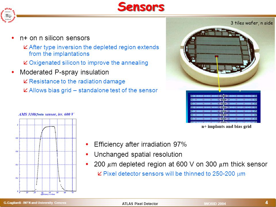 ATLAS Pixel Detector G.Gagliardi - INFN and University Genova IWORID 2004 4 Sensors   n+ on n silicon sensors   After type inversion the depleted