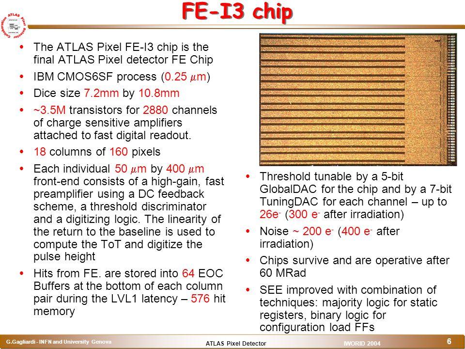 ATLAS Pixel Detector G.Gagliardi - INFN and University Genova IWORID 2004 6 FE-I3 chip  The ATLAS Pixel FE-I3 chip is the final ATLAS Pixel detector