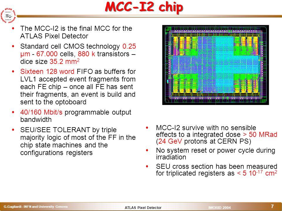 ATLAS Pixel Detector G.Gagliardi - INFN and University Genova IWORID 2004 7 MCC-I2 chip  The MCC-I2 is the final MCC for the ATLAS Pixel Detector  S