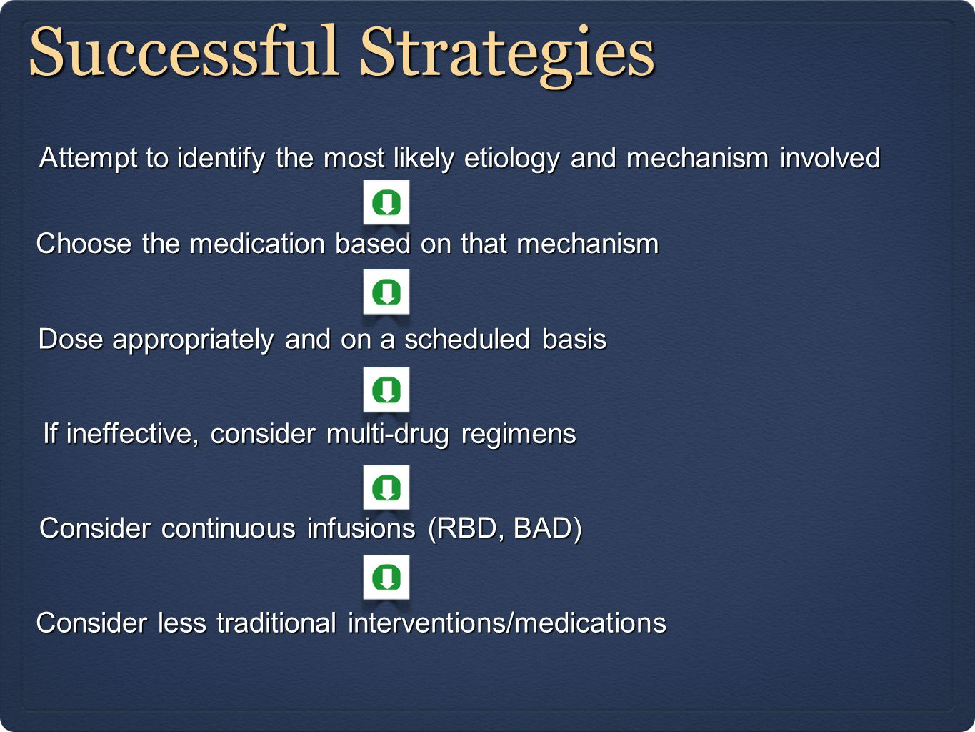 Successful Strategies Attempt to identify the most likely etiology and mechanism involved Choose the medication based on that mechanism Dose appropriately and on a scheduled basis If ineffective, consider multi-drug regimens Consider continuous infusions (RBD, BAD) Consider less traditional interventions/medications