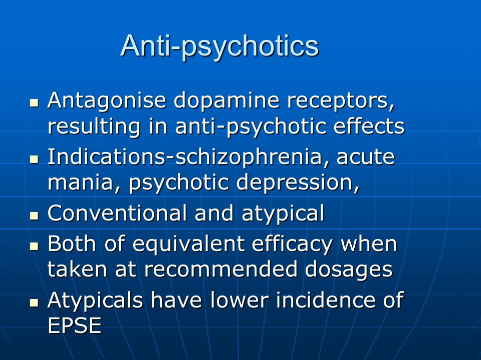 Dopamine Theory The dopamine hypothesis of psychosis – overactivity of dopamine neurons in the mesolimbic pathway of the brain may mediate the positive symptoms of psychosis The dopamine hypothesis of psychosis – overactivity of dopamine neurons in the mesolimbic pathway of the brain may mediate the positive symptoms of psychosis Mesolimbic pathway responsible for pleasure, effects of drugs and alcohol and hallucinations and delusions Mesolimbic pathway responsible for pleasure, effects of drugs and alcohol and hallucinations and delusions