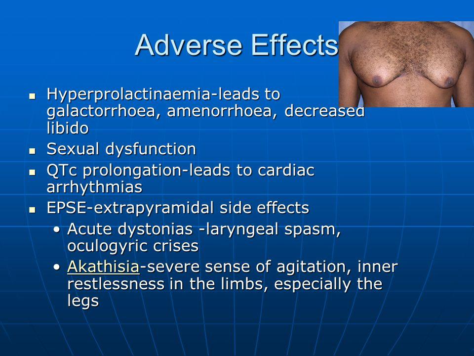 Adverse Effects Hyperprolactinaemia-leads to galactorrhoea, amenorrhoea, decreased libido Hyperprolactinaemia-leads to galactorrhoea, amenorrhoea, dec