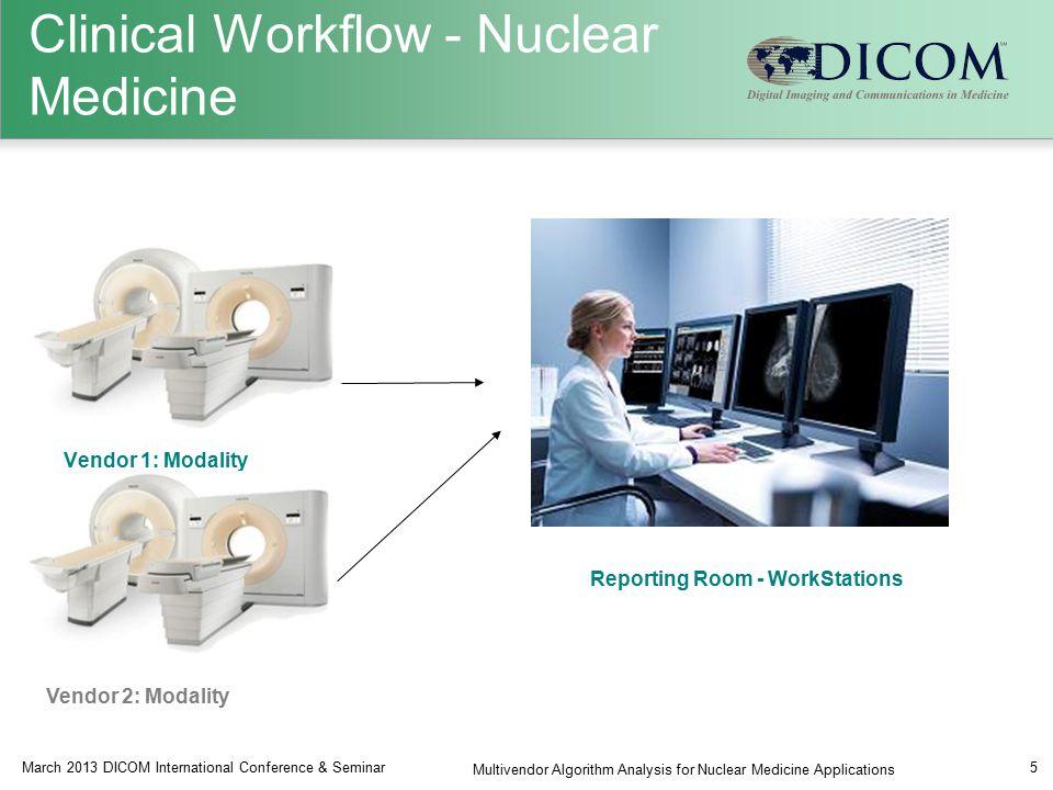 Vendor 1: Modality Reporting Room - WorkStations March 2013 DICOM International Conference & Seminar Multivendor Algorithm Analysis for Nuclear Medicine Applications 5 Vendor 2: Modality Clinical Workflow - Nuclear Medicine