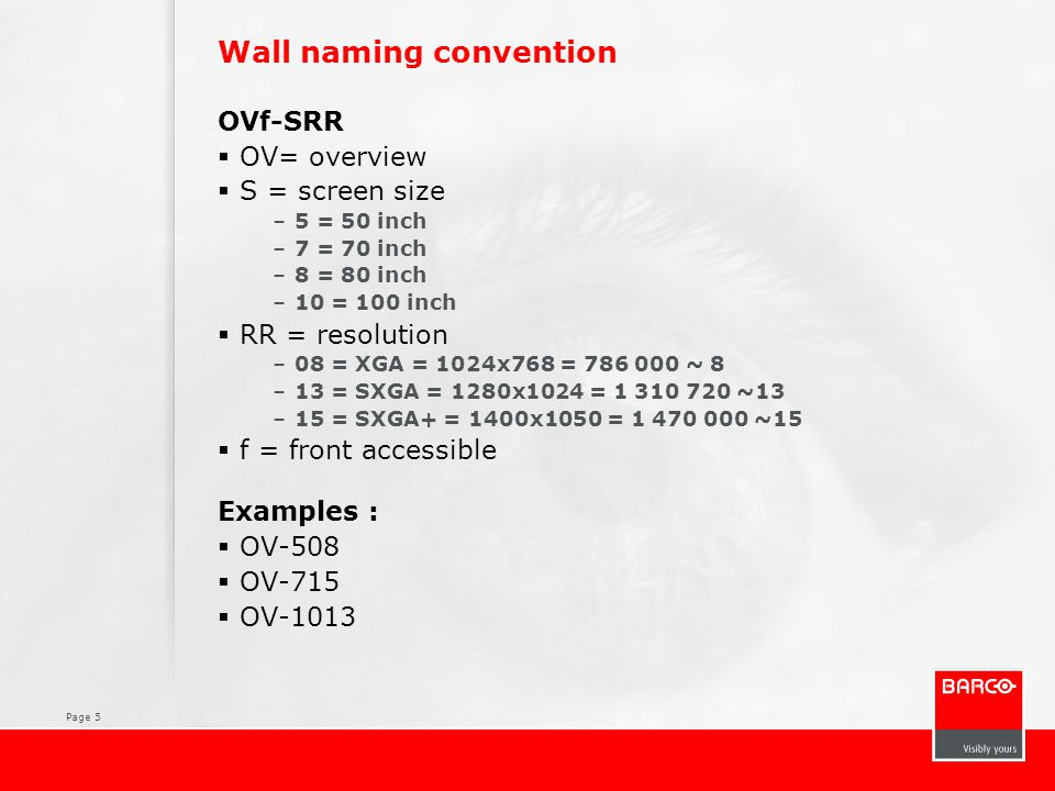 Page 5 Wall naming convention OVf-SRR  OV= overview  S = screen size –5 = 50 inch –7 = 70 inch –8 = 80 inch –10 = 100 inch  RR = resolution –08 = XGA = 1024x768 = 786 000 ~ 8 –13 = SXGA = 1280x1024 = 1 310 720 ~13 –15 = SXGA+ = 1400x1050 = 1 470 000 ~15  f = front accessible Examples :  OV-508  OV-715  OV-1013