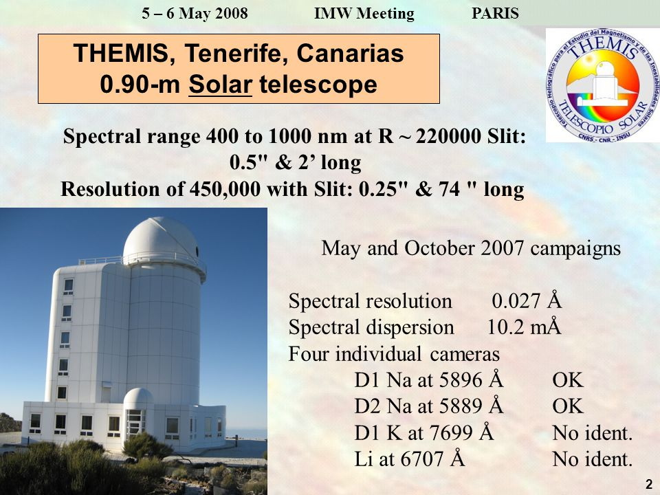 2 5 – 6 May 2008 IMW Meeting PARIS THEMIS, Tenerife, Canarias 0.90-m Solar telescope Spectral range 400 to 1000 nm at R ~ 220000 Slit: 0.5 & 2' long Resolution of 450,000 with Slit: 0.25 & 74 long May and October 2007 campaigns Spectral resolution 0.027 Å Spectral dispersion 10.2 mÅ Four individual cameras D1 Na at 5896 Å OK D2 Na at 5889 Å OK D1 K at 7699 Å No ident.