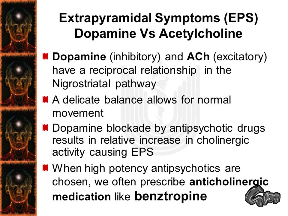 Extrapyramidal Symptoms (EPS) Dopamine Vs Acetylcholine Dopamine (inhibitory) and ACh (excitatory) have a reciprocal relationship in the Nigrostriatal