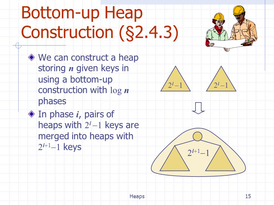 Heaps15 We can construct a heap storing n given keys in using a bottom-up construction with log n phases In phase i, pairs of heaps with 2 i  1 keys are merged into heaps with 2 i  1  1 keys Bottom-up Heap Construction (§2.4.3) 2 i  1 2i112i11