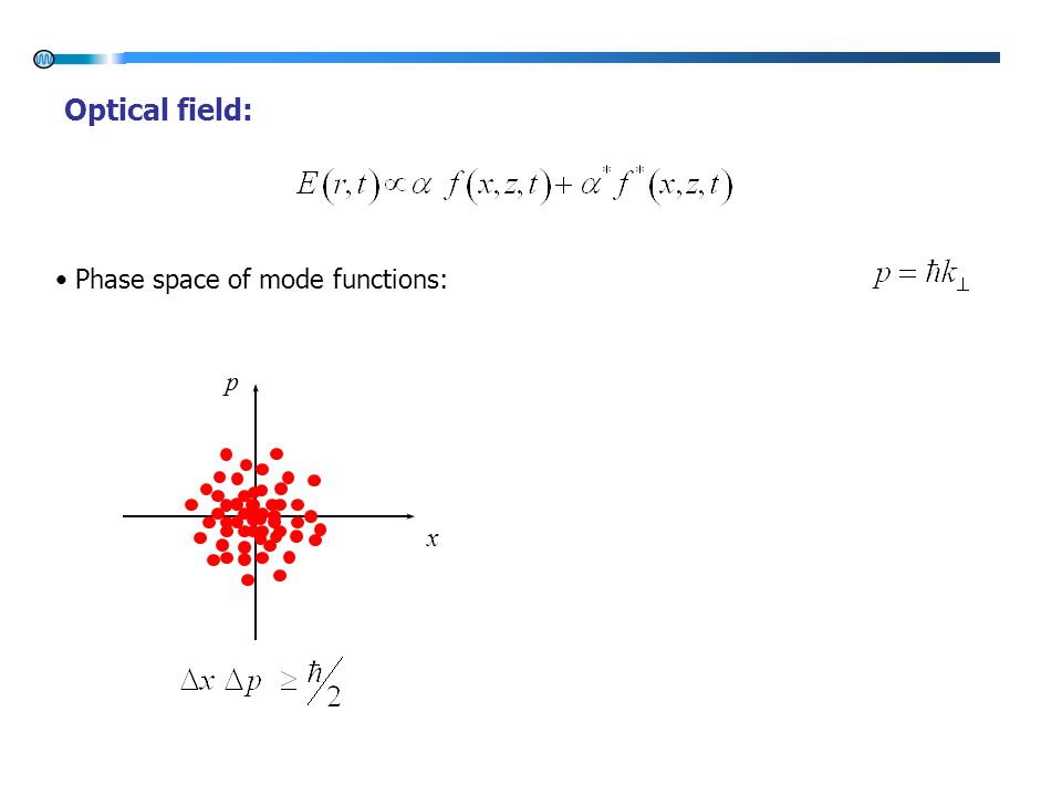 x p Optical field: Phase space of mode functions: