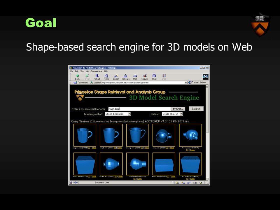 GoalGoal Shape-based search engine for 3D models on Web