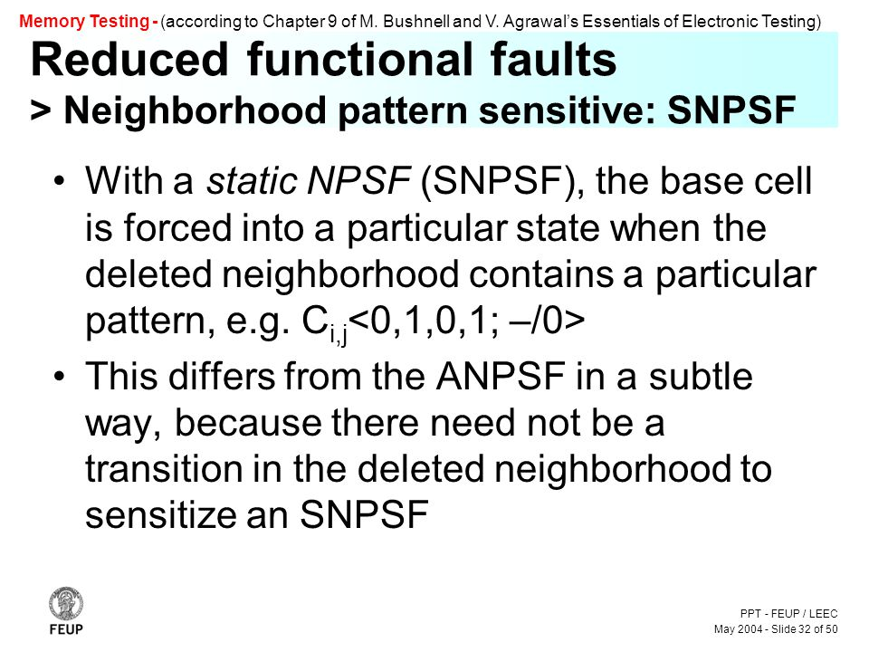 PPT - FEUP / LEEC May 2004 - Slide 32 of 50 Memory Testing - (according to Chapter 9 of M.