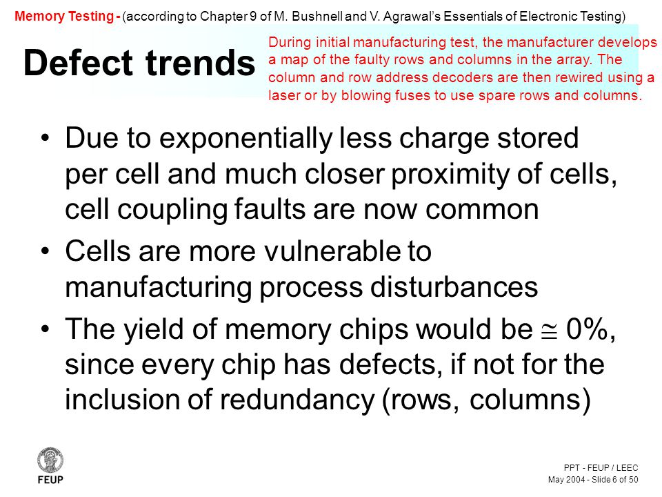 PPT - FEUP / LEEC May 2004 - Slide 6 of 50 Memory Testing - (according to Chapter 9 of M.