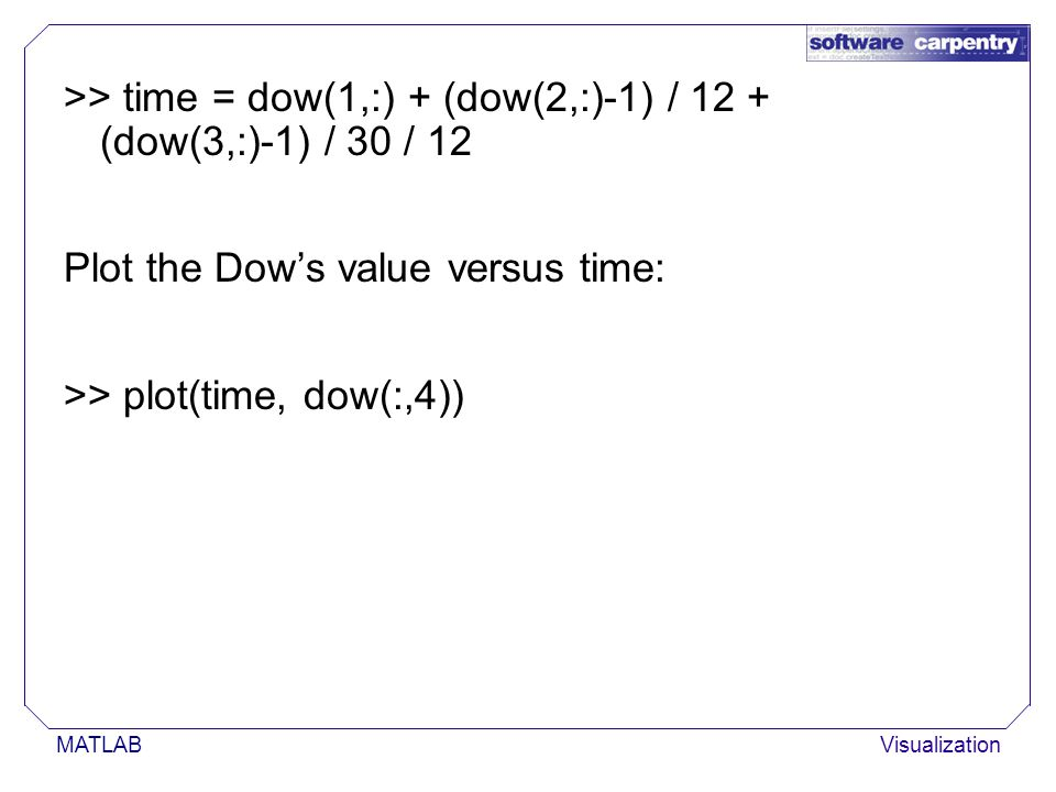 MATLABVisualization >> time = dow(1,:) + (dow(2,:)-1) / 12 + (dow(3,:)-1) / 30 / 12 Plot the Dow's value versus time: >> plot(time, dow(:,4))
