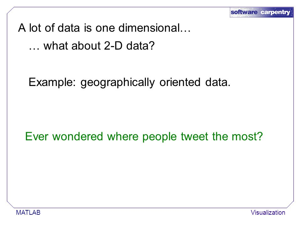MATLABVisualization A lot of data is one dimensional… … what about 2-D data.