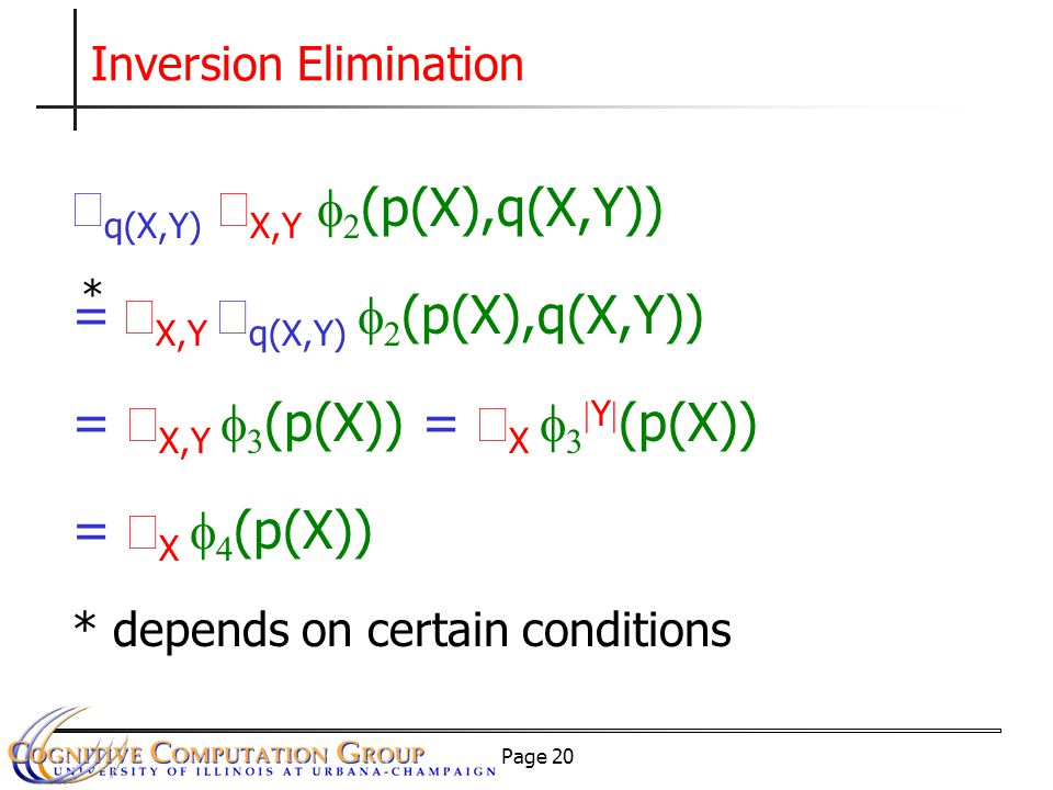 Page 20 Inversion Elimination  q(X,Y)  X,Y   (p(X),q(X,Y)) =  X,Y  q(X,Y)   (p(X),q(X,Y)) =  X,Y   (p(X)) =  X    Y  (p(X)) =  X   (p(X)) * depends on certain conditions *