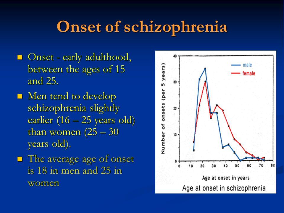 Onset of schizophrenia Onset - early adulthood, between the ages of 15 and 25. Onset - early adulthood, between the ages of 15 and 25. Men tend to dev