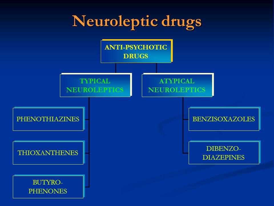 Neuroleptic drugs ANTI-PSYCHOTIC DRUGS TYPICAL NEUROLEPTICS ATYPICAL NEUROLEPTICS PHENOTHIAZINES THIOXANTHENES BUTYRO- PHENONES BENZISOXAZOLES DIBENZO