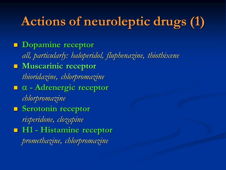 Actions of neuroleptic drugs (1) Dopamine receptor Dopamine receptor all, particularly: haloperidol, fluphenazine, thiothixene Muscarinic receptor Mus