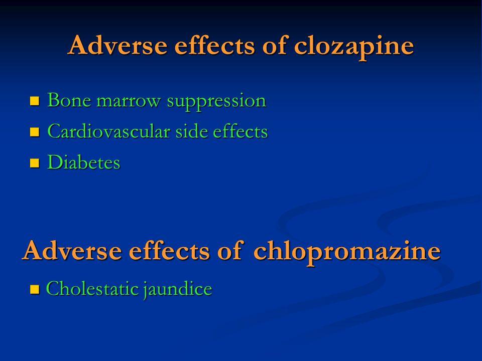 Adverse effects of clozapine Bone marrow suppression Bone marrow suppression Cardiovascular side effects Cardiovascular side effects Diabetes Diabetes