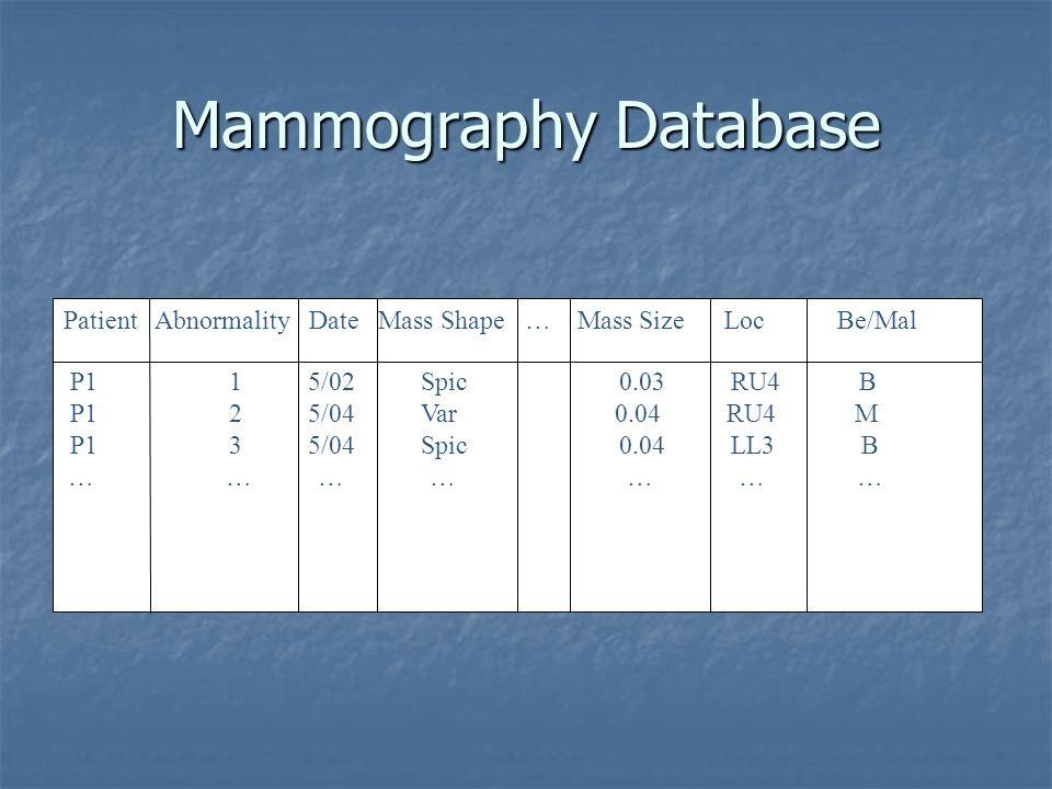 P1 1 5/02 Spic 0.03 RU4 B P1 2 5/04 Var 0.04 RU4 M P1 3 5/04 Spic 0.04 LL3 B … … … … … … … Patient Abnormality Date Mass Shape … Mass Size Loc Be/Mal Mammography Database