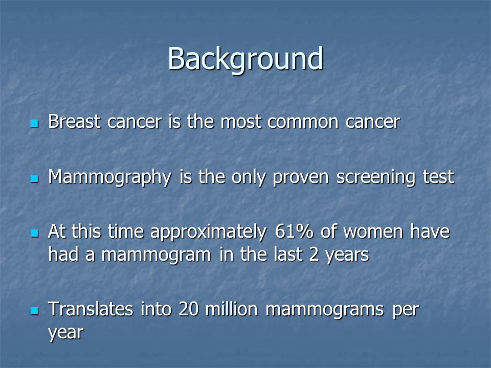 Background Breast cancer is the most common cancer Breast cancer is the most common cancer Mammography is the only proven screening test Mammography is the only proven screening test At this time approximately 61% of women have had a mammogram in the last 2 years At this time approximately 61% of women have had a mammogram in the last 2 years Translates into 20 million mammograms per year Translates into 20 million mammograms per year