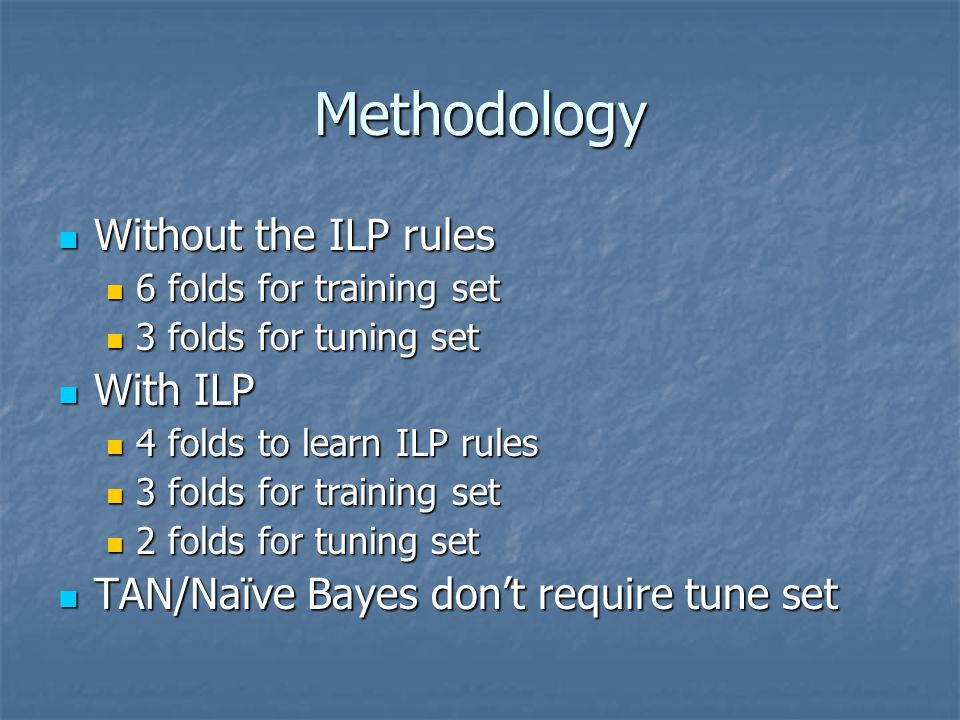 Methodology Without the ILP rules Without the ILP rules 6 folds for training set 6 folds for training set 3 folds for tuning set 3 folds for tuning se