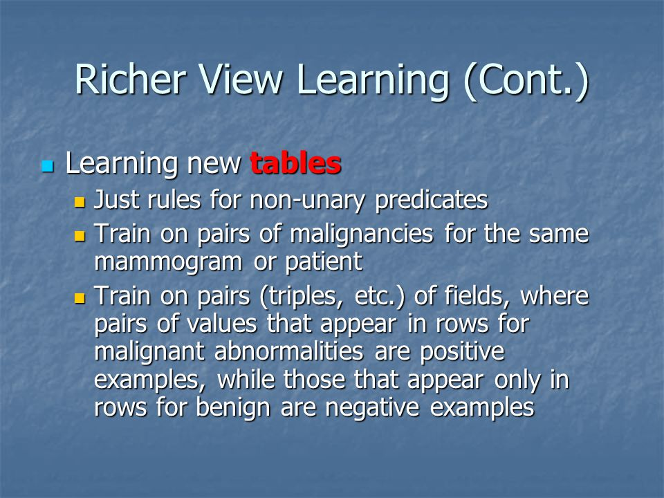 Richer View Learning (Cont.) Learning new tables Learning new tables Just rules for non-unary predicates Just rules for non-unary predicates Train on
