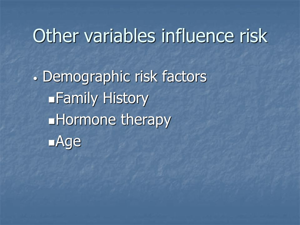 Other variables influence risk Demographic risk factors Demographic risk factors Family History Family History Hormone therapy Hormone therapy Age Age
