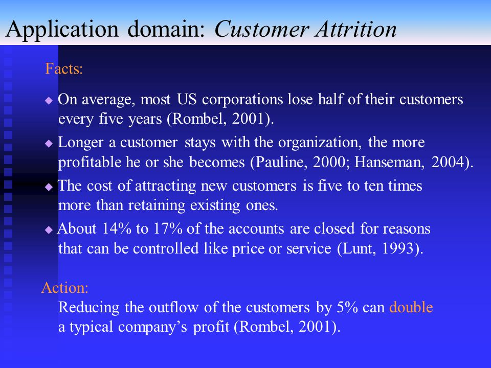 Application domain: Customer Attrition  On average, most US corporations lose half of their customers every five years (Rombel, 2001).