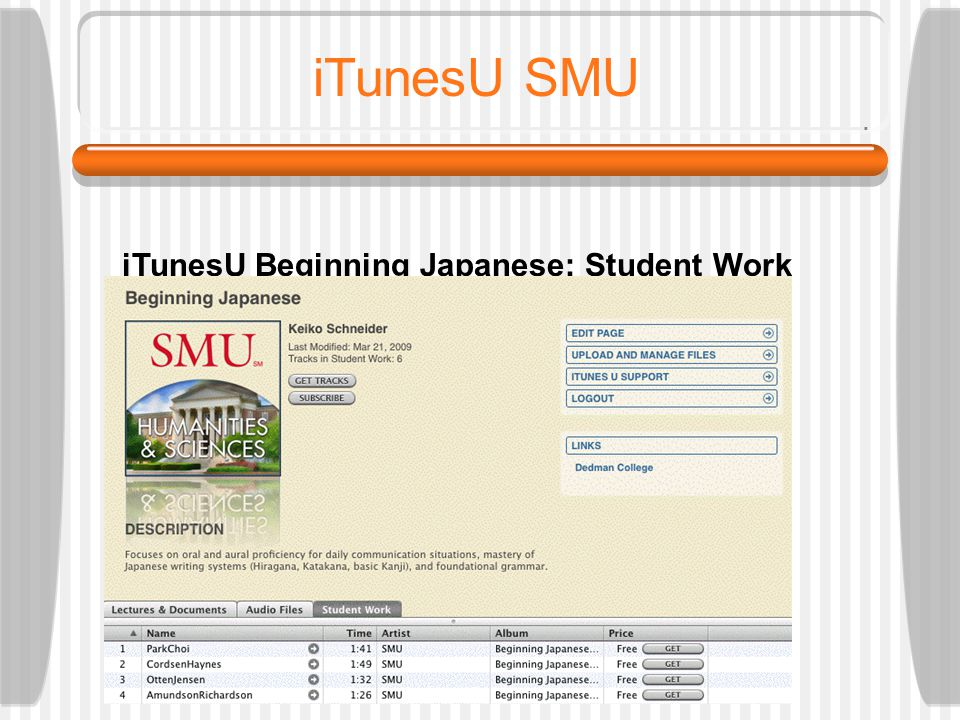 TFLA 2009: SCHNEIDER iTunesU SMU iTunesU Beginning Japanese: Audio Files