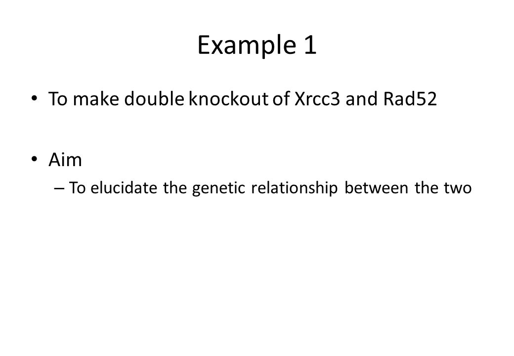 Example 1 To make double knockout of Xrcc3 and Rad52 Aim – To elucidate the genetic relationship between the two