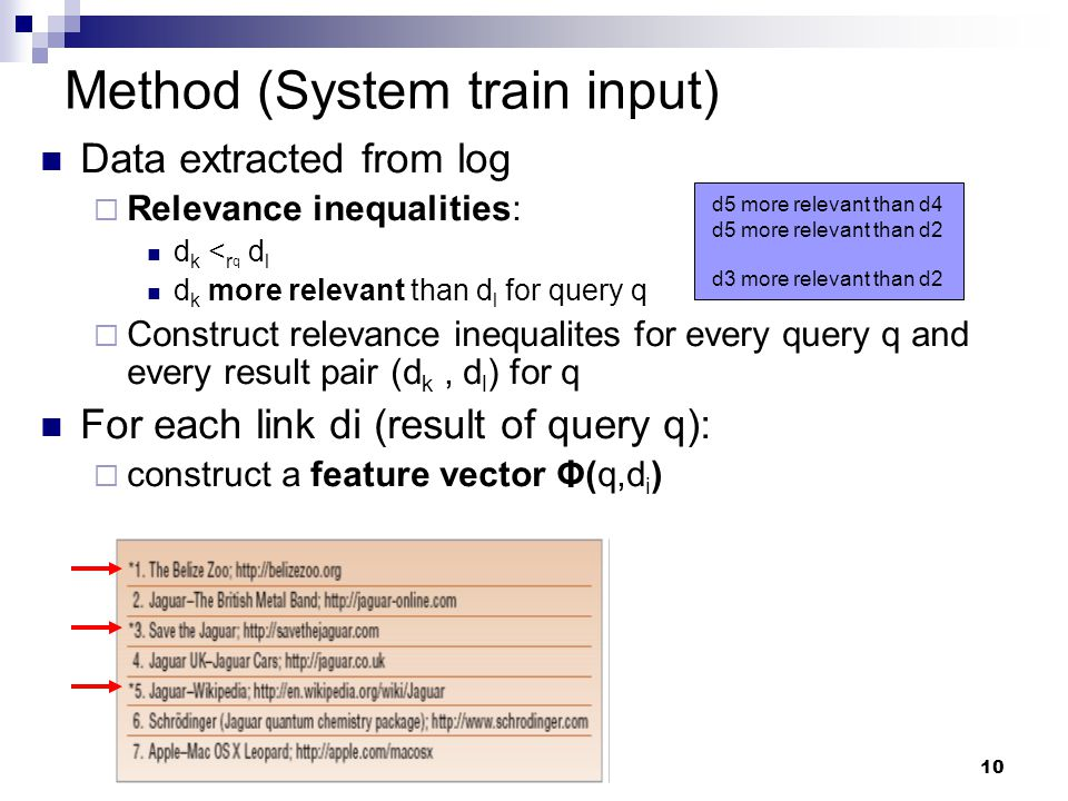 10 Method (System train input) Data extracted from log  Relevance inequalities: d k < r q d l d k more relevant than d l for query q  Construct rele