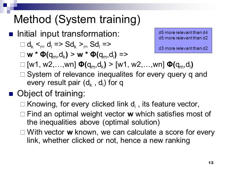13 Method (System training) Initial input transformation:  d k Sd k > r m Sd l =>  w * Φ(q m,d k ) > w * Φ(q m,d l ) =>  [w1, w2,…,wn] Φ(q m,d k )